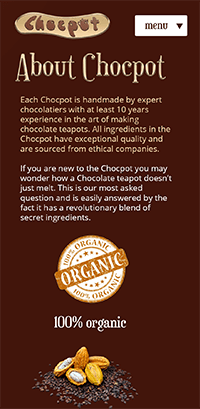 Chocpot Screenshot - About Page - Mobile
